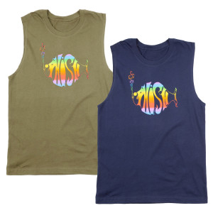 Classic Rainbow Muscle Tank Top on Navy
