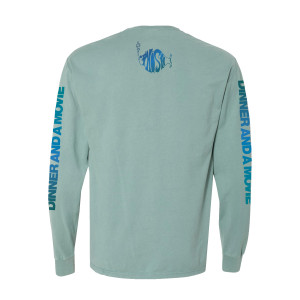 Dinner And A Movie Pollock Heavyweight Longsleeve Tee on Cypress Green