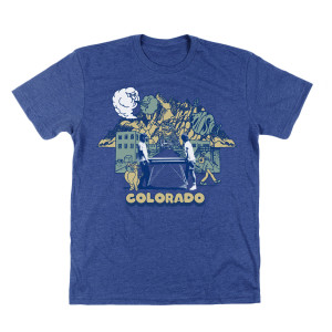 Colorful Colorado Tee on Heather Blue