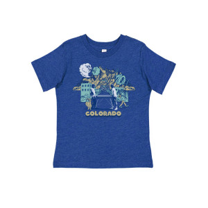 Kids Colorful Colorado Tee on Heather Blue