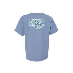 Youth Pollock Ice Fisherman Heavy Tee on Saltwater Blue