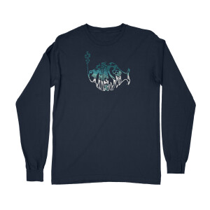 Winter Mountain Air Hoodie Heavy Longsleeve Tee on Navy