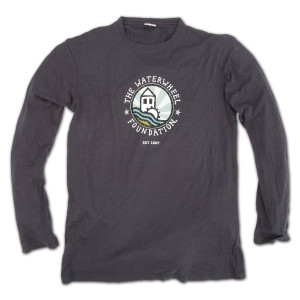 WaterWheel Men's Bamboo/Cotton Round Logo Longsleeve T on Charcoal Blue