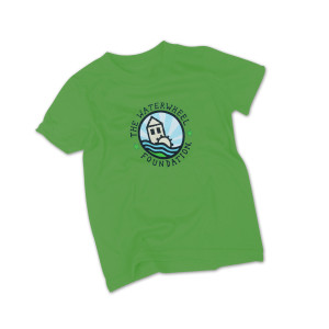 Waterhweel Youth Organic Cotton Round Logo T on Green Apple
