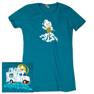 Ladies' Ice Cream Man Summer Tour 2014 T on Turquoise