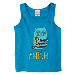 Big Owl Kids Tank on Neon Blue