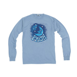 Pollock Moon Longsleeve Heavy Tee on Saltwater Blue