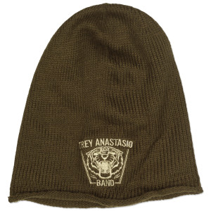 Slouch Tiger Knit Beanie on Olive