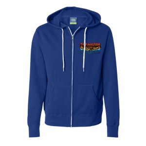 Pollock Guitar Beacon Zip-Up Hoodie on Cobalt