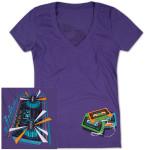 Women's NYC Boom Box T on Purple V-Neck