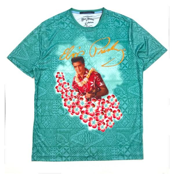 7235ff493a30b1 Hawaiian Pattern Aqua Elvis Presley in Flowers T-Shirt | Shop the ...