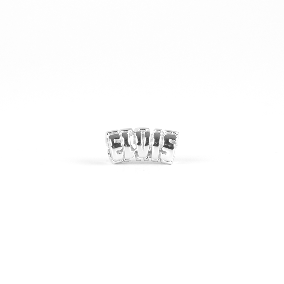 Elvis Silver Charm - Letters Curved Bead
