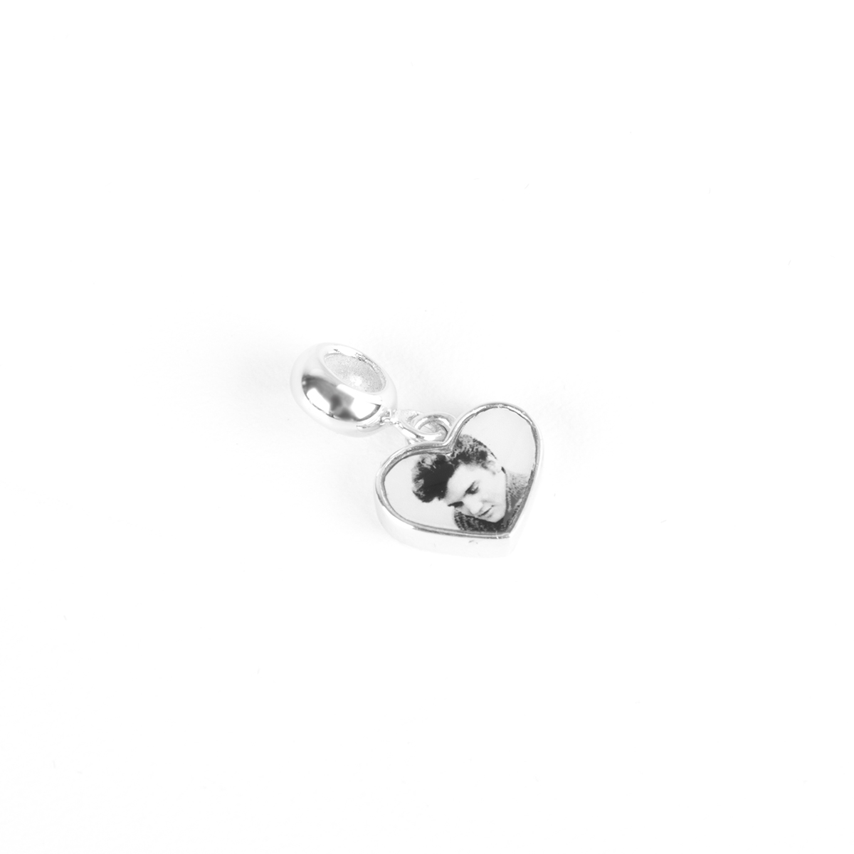 Elvis Silver Charm - Heartthrob Heart Dangle Bead