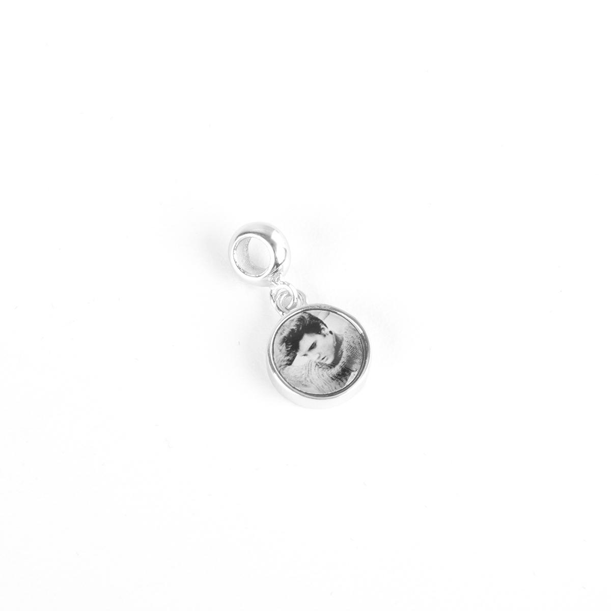 Elvis Silver Charm - Heartthrob Circle Dangle Bead