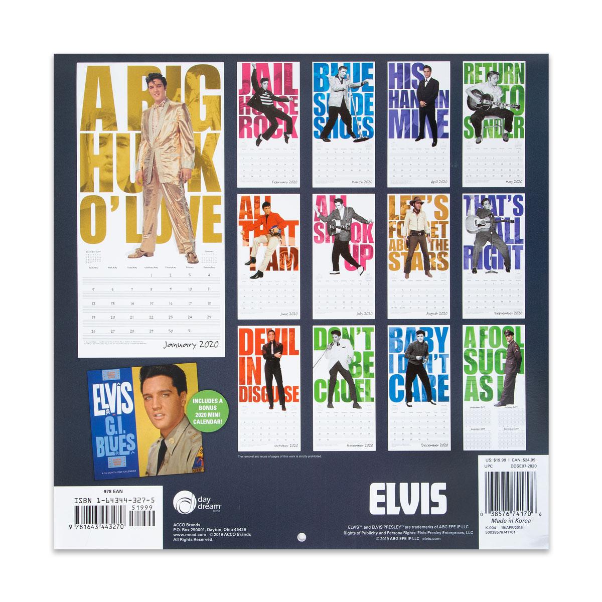 Elvis Presley Special Edition 2020 Calendar
