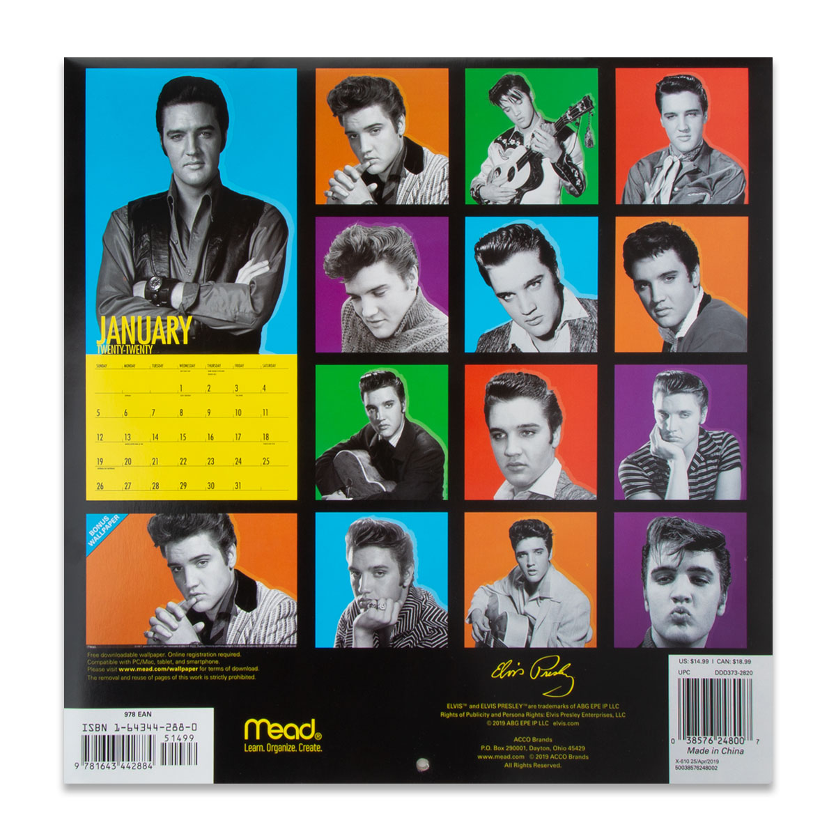 Elvis Presley 2020 16 Month Wall Calendar