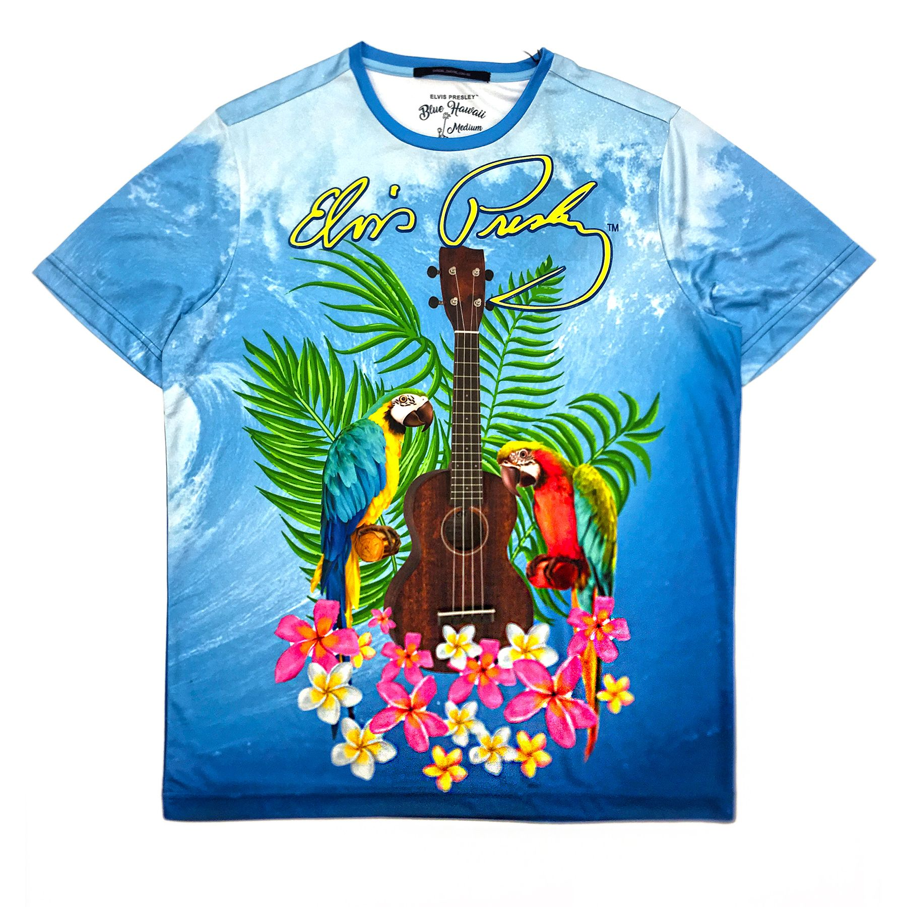 Blue Wave Elvis Presley Ukulele and Parrots T-Shirt