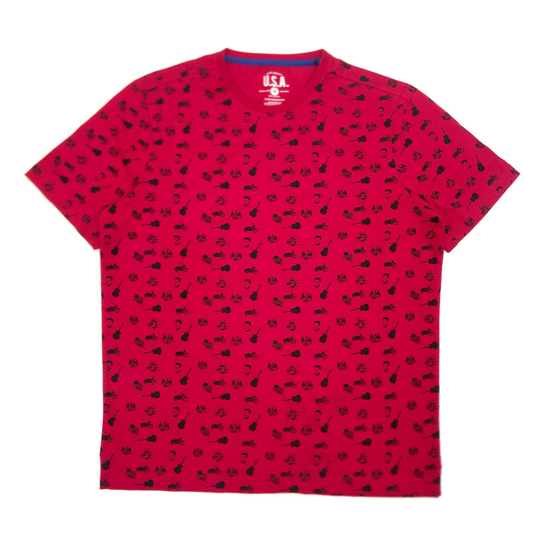 Red Elvis Presley Flag Face Guitar Pattern T-Shirt