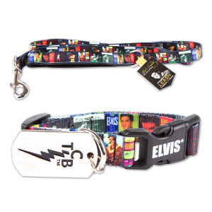 Elvis Album Cover Dog Collar + Leash Bundle