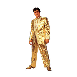 Lifesize Talking Elvis in Gold Lame