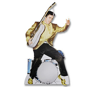 Lifesize Talking Elvis in Gold with Guitar