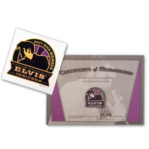 Elvis Insiders 2007/2008 Window Decal and Membership Certificate