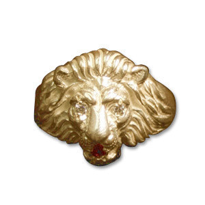 Elvis Lion Head 14K Gold / Diamond Ring - Women's Size