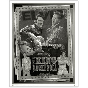 Elvis: King of Rock n Roll Black and White Art Print