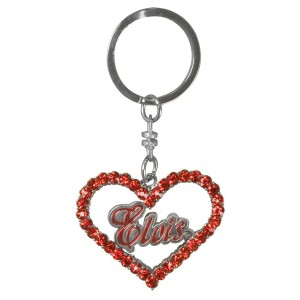 Elvis Signature Heart Red Stone Key Chain