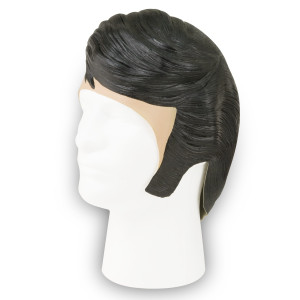 Elvis Rubber Costume Wig with Sideburns