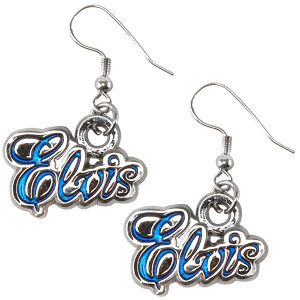 Elvis in Blue Pierced Earrings