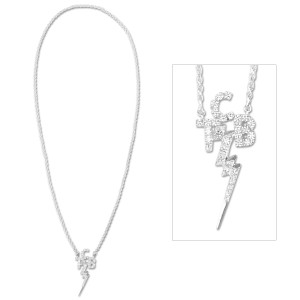 Elvis TCB CZ Sterling Silver Necklace