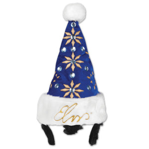 Elvis Blue Jumpsuit Santa Hat with Sideburns