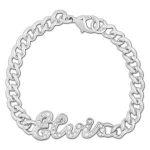 Elvis Script Sterling Silver Plated Bracelet w/ Swarovski Crystals