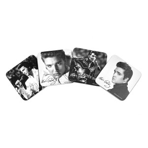 Elvis Black & White 4pc Coaster Set