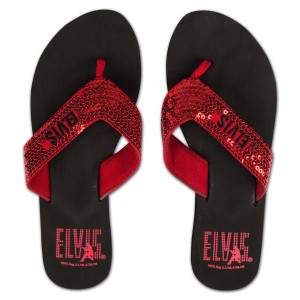 Elvis Silhouette Red Sequin Flip Flops