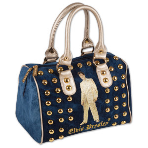 Elvis Gold Lame Studded Satchel