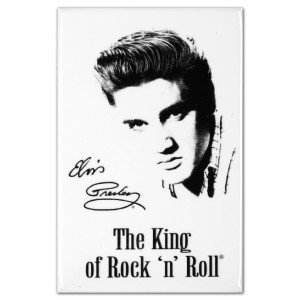 Elvis Presley The King of Rock & Roll White Magnet