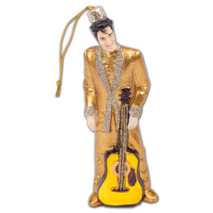 Elvis - Gold Glass Suit Ornament
