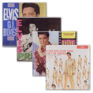 Elvis Cover Art Glass Coasters (Set of 4)