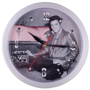 Elvis with Pink Cadillac Clock