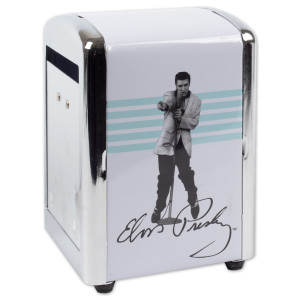 Elvis - Metal White & Blue Napkin Holder