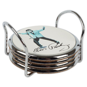 Elvis - Metal /Cork White & Blue 4 pc. Coaster Set
