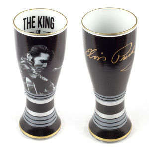 Elvis - King of Rock'N Roll 20 oz. 2 pc. Hand Painted Glass Set