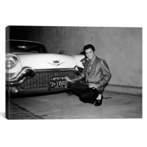 "Elvis Presley & His Cadillac Canvas Print 26"" x 40"""