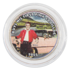 "Elvis Presley ""Buys His First Pink Cadillac"" Colorized State Quarter Coin"