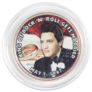 "Elvis Presley ""King of Rock 'N' Roll Gets Married"" Colorized State Quarter Coin"