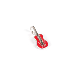 Elvis Silver Charm - 68 Special Red Guitar Bead