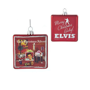 Elvis Presley Christmas Album Glass Ornament