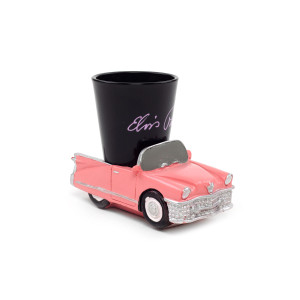 Elvis Presley Shot Glass with Pink Cadillac Base